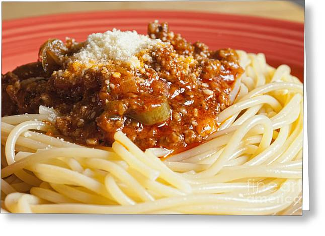 Spaghetti Greeting Cards - Spaghetti Bolognese Dish Greeting Card by Andre Babiak