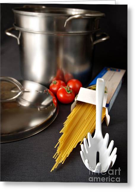 Stainless Steel Greeting Cards - Spaghetti Greeting Card by HD Connelly
