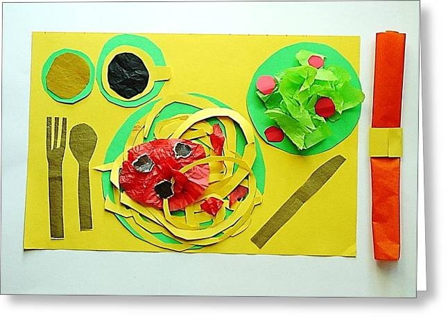 Spaghetti Mixed Media Greeting Cards - Spaghetti Paper Dinner Greeting Card by Ward Smith