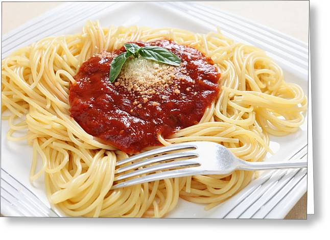 Spaghetti Greeting Cards - Spaghetti with pomodoro sauce Greeting Card by Paul Cowan