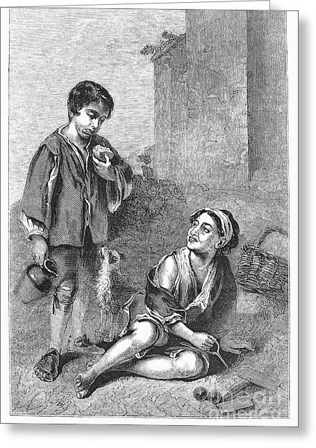 Bartolome Esteban Murillo Greeting Cards - Spain: Beggar Boys Greeting Card by Granger