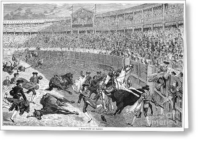 1874 Greeting Cards - Spain: Bullfight, 1874 Greeting Card by Granger