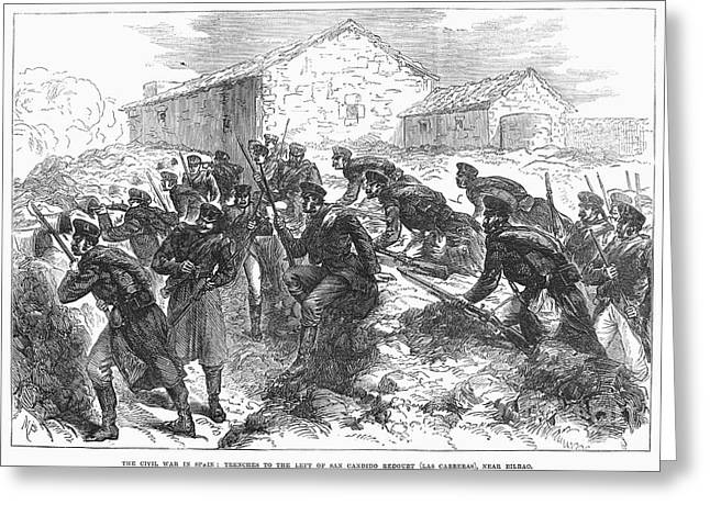 1874 Greeting Cards - Spain: Civil War, 1874 Greeting Card by Granger