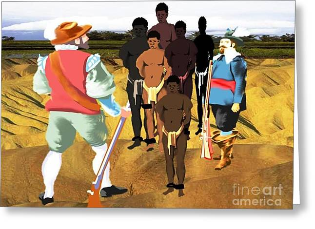 Spaniards Capturing Slaves Greeting Card by Belinda Threeths