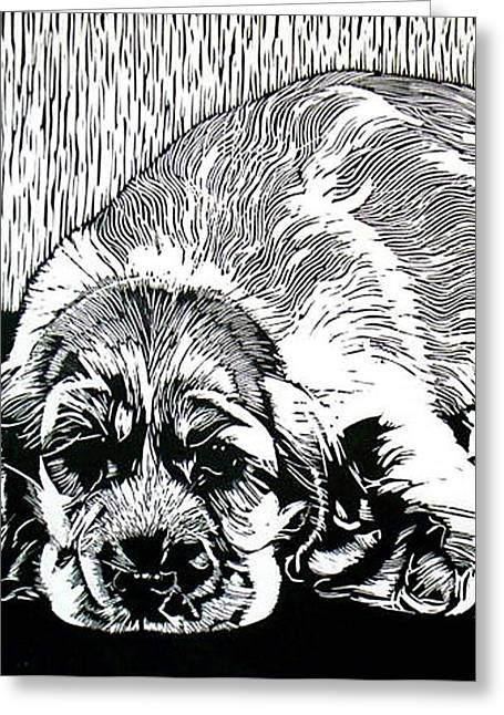 Puppy Reliefs Greeting Cards - Spaniel Greeting Card by Sabrina McGowens