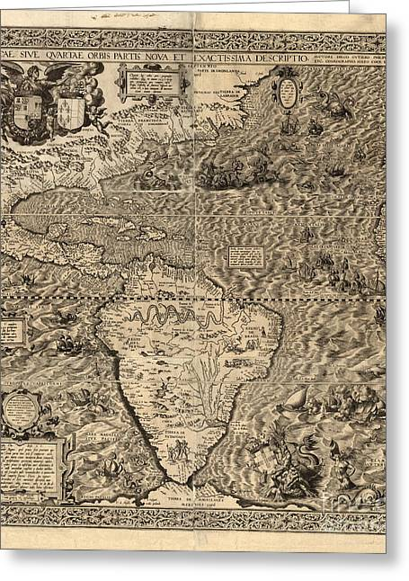 Treaty Greeting Cards - Spanish America, 16th Century Map Greeting Card by Science Source