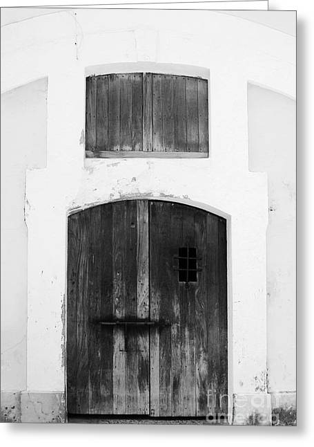 Puerto Rico Greeting Cards - Spanish Fort Door Castillo San Felipe Del Morro San Juan Puerto Rico Prints Black and White Greeting Card by Shawn O