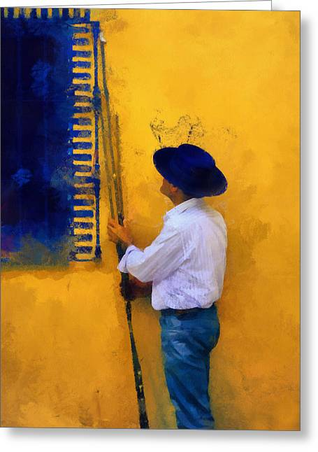 Macho Greeting Cards - Spanish Man at the Yellow Wall. Impressionism Greeting Card by Jenny Rainbow
