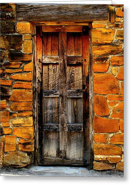 Old Door Greeting Cards - Spanish mission door Greeting Card by Perry Webster