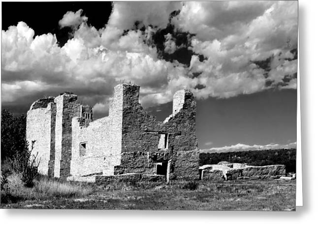 Red And White Greeting Cards - Spanish Mission ruins of Quarai NM Greeting Card by Christine Till