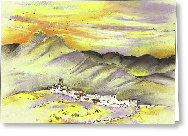 Spanish Mountain Village 01 Greeting Card by Miki De Goodaboom