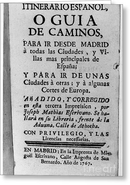 Book Title Greeting Cards - Spanish Travel Guide, 1767 Greeting Card by Granger