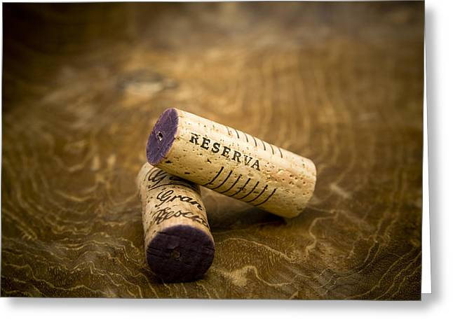 Still Life Photographs Greeting Cards - Spanish wine corks - Reserva and Gran Reserva Greeting Card by Frank Tschakert