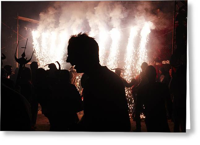 Pyrotechnics Greeting Cards - Spark backlighting Greeting Card by Agusti Pardo Rossello