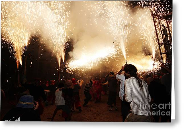 Fuegos Artificiales Greeting Cards - Spark tree Greeting Card by Agusti Pardo Rossello