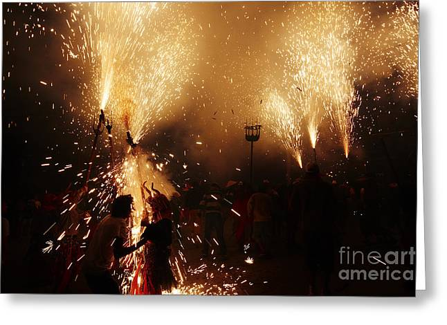 Fuegos Artificiales Greeting Cards - Sparked Greeting Card by Agusti Pardo Rossello