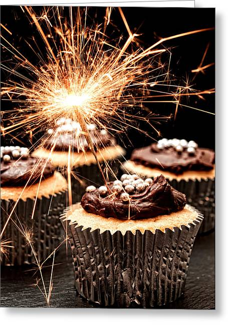 Bonfire Night Greeting Cards - Sparkler Cupcakes Greeting Card by Amanda And Christopher Elwell