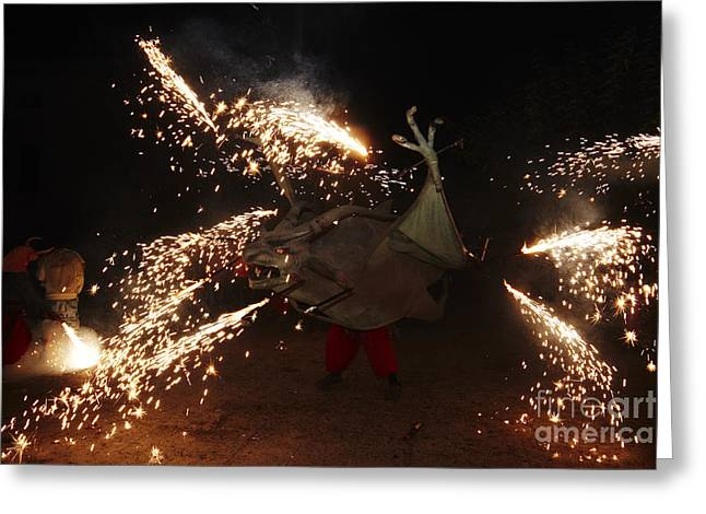 Fuegos Artificiales Greeting Cards - Sparkling dragon Greeting Card by Agusti Pardo Rossello