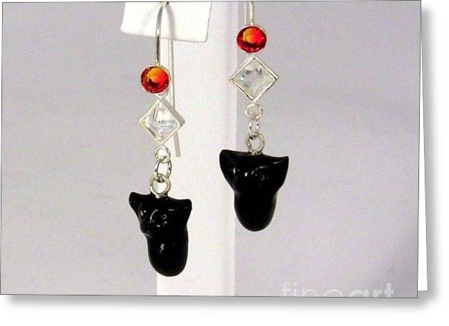 Kitty Jewelry Greeting Cards - Sparkly Black Kitten Earrings in Fire Opal Greeting Card by Pet Serrano