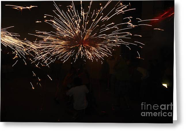 Fuegos Artificiales Greeting Cards - Sparks Greeting Card by Agusti Pardo Rossello