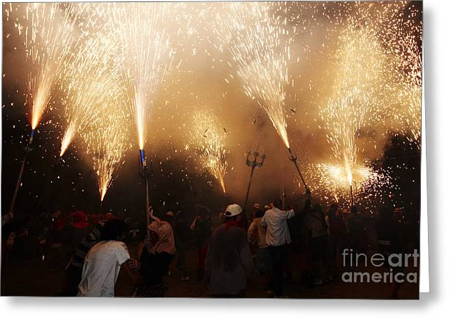 Fuegos Artificiales Greeting Cards - Sparks rain 2 Greeting Card by Agusti Pardo Rossello