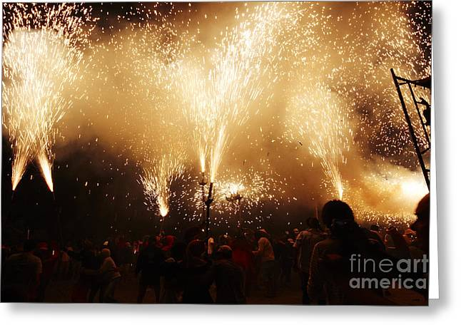 Fuegos Artificiales Greeting Cards - Sparks rain Greeting Card by Agusti Pardo Rossello