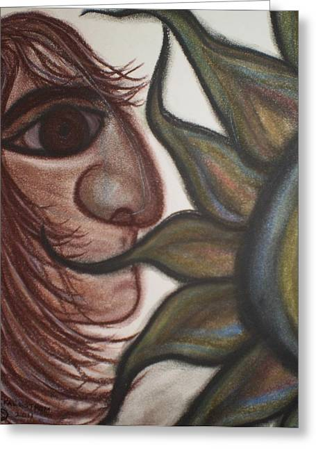 Silence Pastels Greeting Cards - Speak No Evil Man Greeting Card by Tracy Fallstrom
