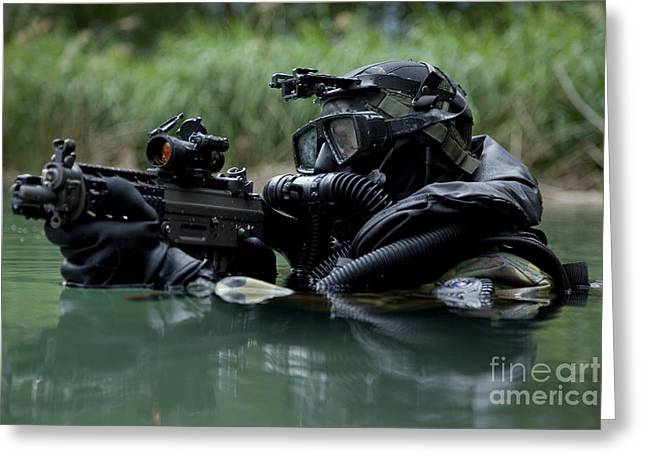 Sharpshooter Greeting Cards - Special Forces Combat Diver Takes Greeting Card by Tom Weber