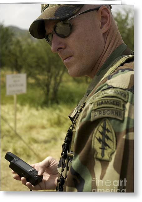 Determination Photographs Greeting Cards - Special Forces Soldier Enters Greeting Card by Stocktrek Images