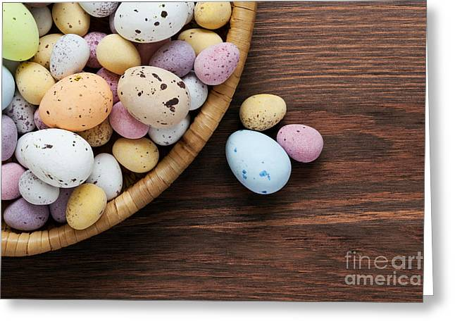 Small Basket Greeting Cards - Speckled chocolate easter eggs in a basket  Greeting Card by Richard Thomas