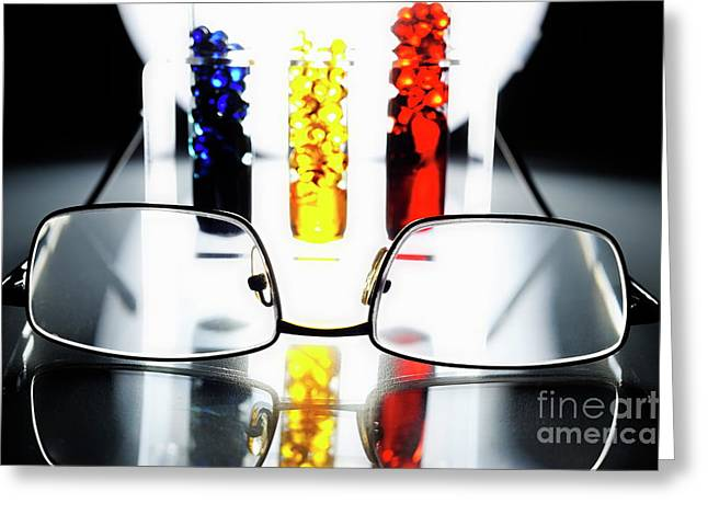 Science Greeting Cards - Spectacles and colorful test tubes Greeting Card by Sami Sarkis