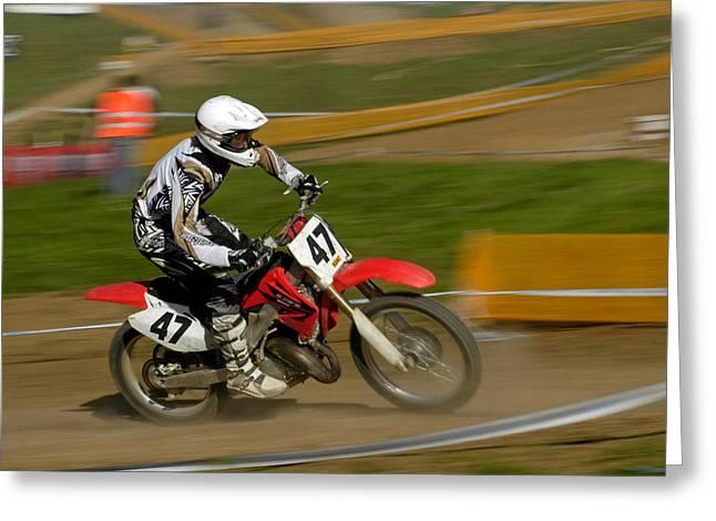 Throttle Greeting Cards - Speed - Motocross Rider Greeting Card by Matthias Hauser