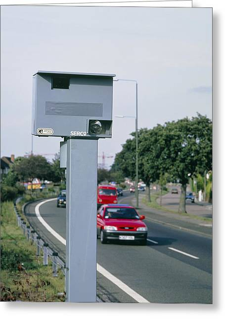 Traffic Control Greeting Cards - Speed Camera By Side Of Dual Carriageway Greeting Card by David Parker