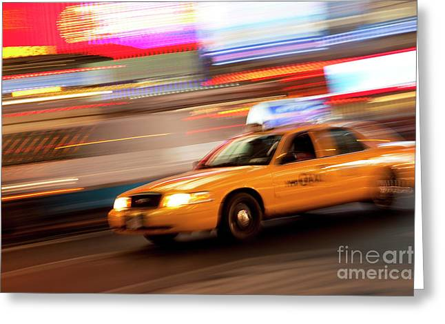 Fast Taxi Greeting Cards - Speeding Cab Greeting Card by Brian Jannsen