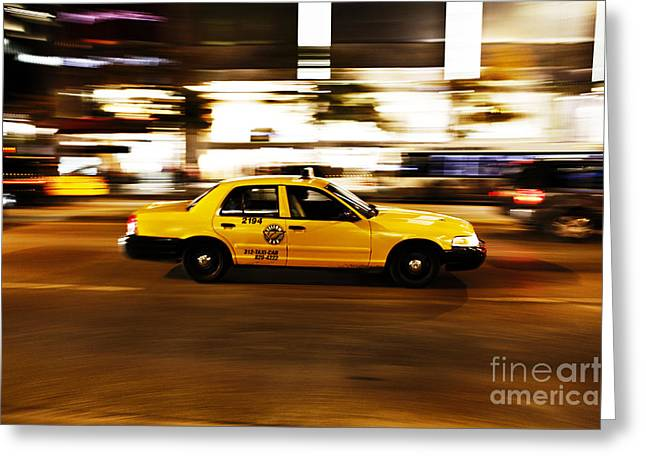Speeding Taxi Greeting Cards - Speeding yellow taxi cab Greeting Card by Asaf Brenner