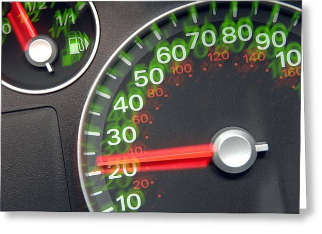 Fuel Gauge Greeting Cards - Speedometer Greeting Card by Johnny Greig