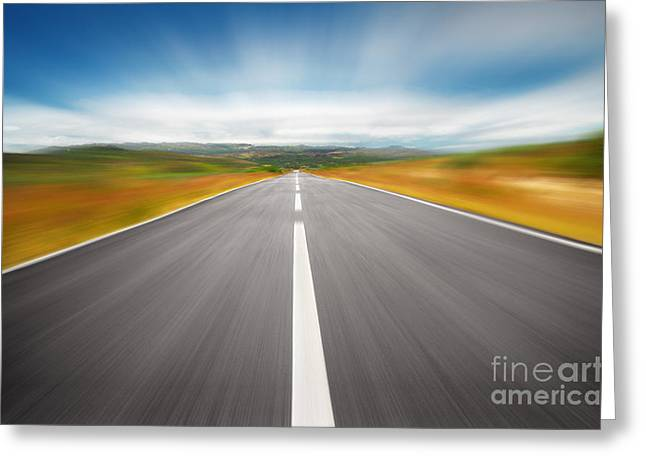 Asphalt Greeting Cards - Speedyway Greeting Card by Carlos Caetano