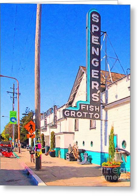 East Bay Digital Art Greeting Cards - Spengers Restaurant in Berkeley California . Photo Art Greeting Card by Wingsdomain Art and Photography