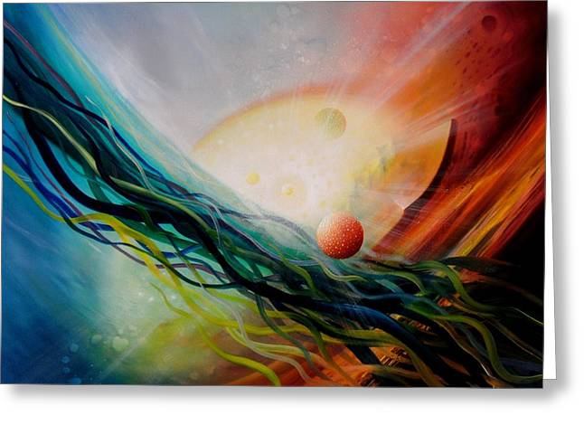 Macrocosm Paintings Greeting Cards - Sphere Gl2 Greeting Card by Drazen Pavlovic