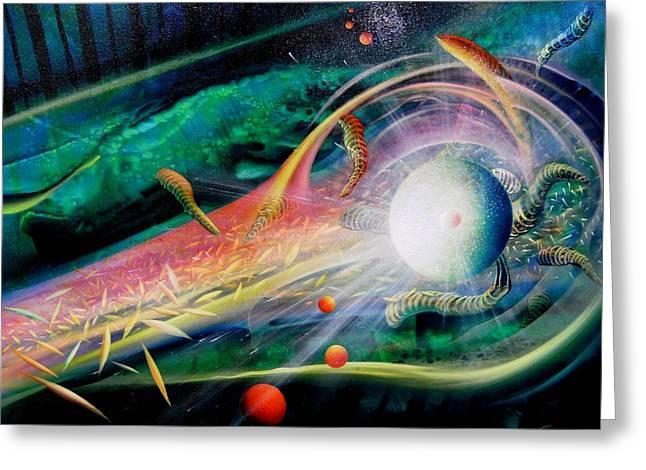 Macrocosm Paintings Greeting Cards - Sphere Metaphysics Greeting Card by Drazen Pavlovic