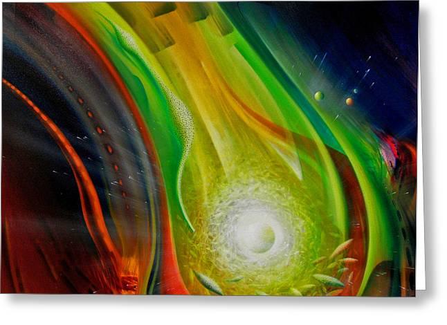 Macrocosm Paintings Greeting Cards - SPHERE Qf72XL                 Greeting Card by Drazen Pavlovic
