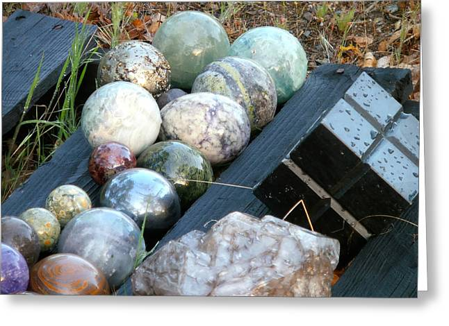 Hematite Greeting Cards - Spheres in Line  Greeting Card by William McCoy