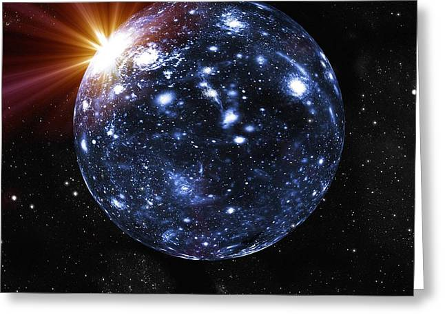 Expanding Light Greeting Cards - Spherical Universe, Artwork Greeting Card by Mehau Kulyk