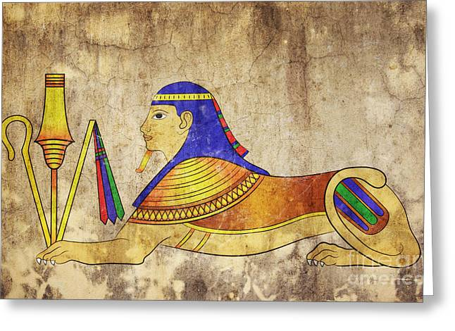 Relief Mixed Media Greeting Cards - Sphinx Greeting Card by Michal Boubin