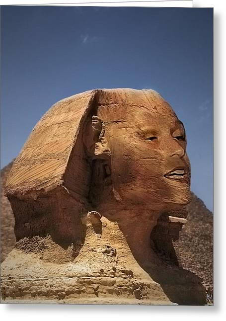 Burning Statue Greeting Cards - Sphinx Petra Greeting Card by Nafets Nuarb