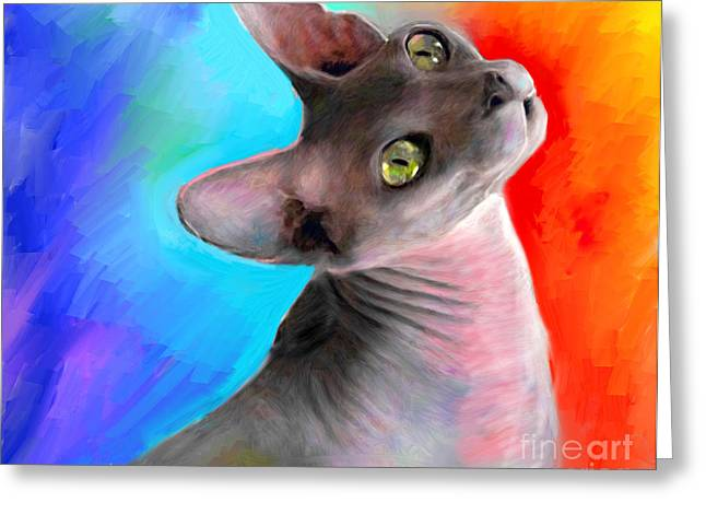Cat Prints Drawings Greeting Cards - Sphynx Cat painting Greeting Card by Svetlana Novikova