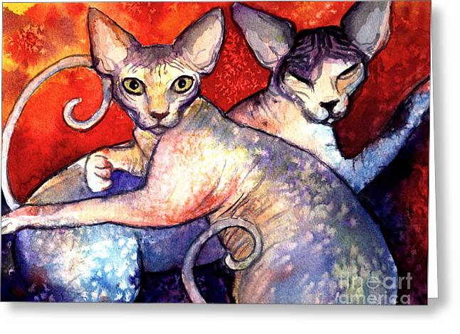 Cat Drawings Greeting Cards - Sphynx cats sphinx family painting  Greeting Card by Svetlana Novikova