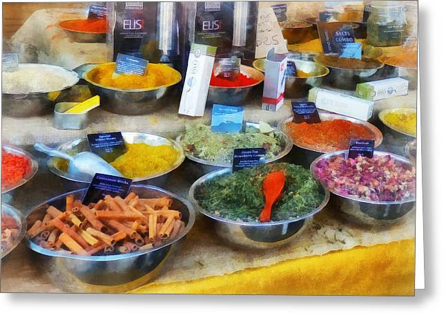 Spice Stand Greeting Card by Susan Savad