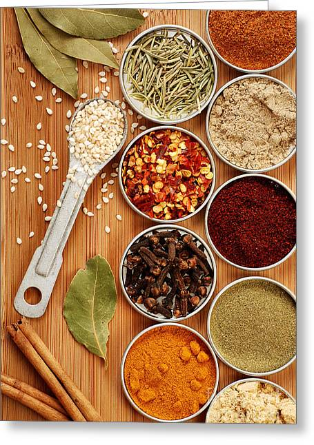 Teaspoon Greeting Cards - Spices Greeting Card by HD Connelly