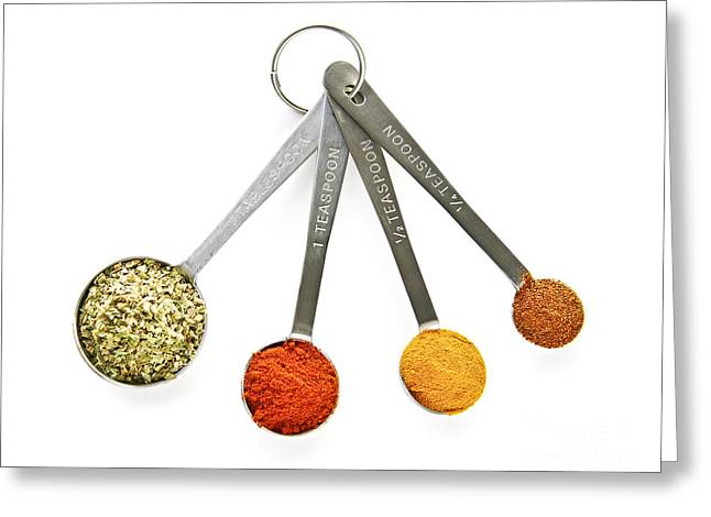 Paprika Greeting Cards - Spices in measuring spoons Greeting Card by Elena Elisseeva